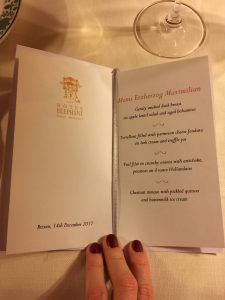 The tailor made dinner menu at the Elephant Hotel in Brixen