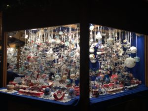 Christmas decorations at the market in Chiusa, Alto Adige North Italy