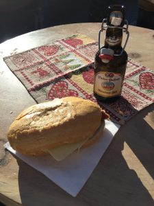 Sandwich and beer at the Christmas Market in Vipiteno, North Italy