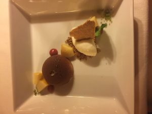 The chestnut mousse with pickled quinces and buttermilk ice cream
