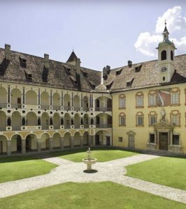 The garden of the Hofburg Palace in Bressanone, North Italy